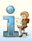 Mężczyzna czytanie obok numerowego jeden symbolu Zdjęcia Stock