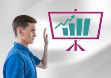 Mężczyzna dźwigania ręka z biznesowej mapy statystyki na parawanowej ikonie Obraz Royalty Free