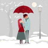 Mężczyzna daje kwiaty jego kochanek na zima dniu Obraz Stock