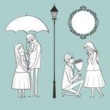 Mężczyzna daje kwiaty jego kochanek na zima dniu Fotografia Stock