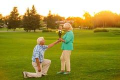 mężczyzna daje kwiaty kobieta Zdjęcie Royalty Free