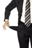 Mężczyzna demonstarting pustą kieszeń odizolowywającą. bankrutujący pojęcie. Zdjęcie Royalty Free