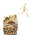 Mężczyzna doskakiwanie od skały Zdjęcia Stock