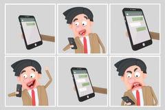 Mężczyzna dostawania gadki wiadomości komiczne ilustracja 3 d ilustracja wektor