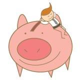 mężczyzna dosypianie na jego oszczędzanie świni Zdjęcia Royalty Free