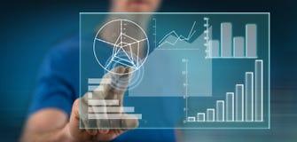 Mężczyzna dotyka dane analizy pojęcie obraz stock