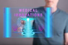 Mężczyzna dotyka medycznego innowaci pojęcie Zdjęcia Royalty Free