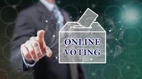 Mężczyzna dotyka online głosuje pojęcie ilustracji
