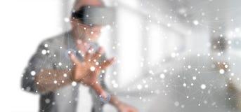 Mężczyzna dotyka sieci pojęcie Fotografia Royalty Free