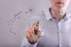 Mężczyzna dotyka strategii biznesowej pojęcie Obraz Royalty Free