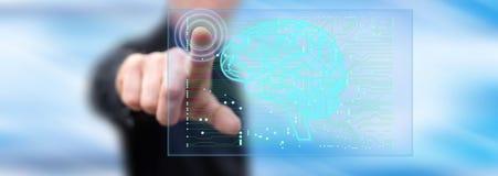 Mężczyzna dotyka sztucznej inteligenci pojęcie zdjęcia stock