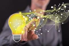 Mężczyzna dotyka technologii innowaci pojęcie zdjęcia royalty free