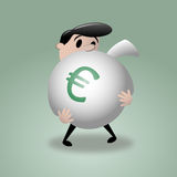 Mężczyzna & Duża pieniądze torba - euro Obraz Royalty Free