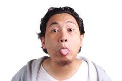 Mężczyzna egzamin próbny Z Śmiesznymi twarzami fotografia royalty free