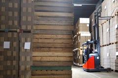 Mężczyzna Egzamininuje zapas W Forklift Obraz Royalty Free