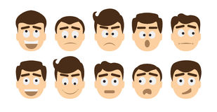 Mężczyzna emoji set ilustracji