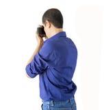 Mężczyzna fotografuje z kamerą Zdjęcia Stock