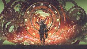 Mężczyzna futurystyczny zegar ilustracji