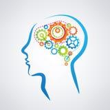 Mężczyzna głowa z mózg robić przekładnie royalty ilustracja