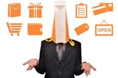 Mężczyzna głowa zakrywająca z zakupy Obraz Royalty Free
