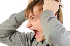 mężczyzna gniewny portret stresował się zdjęcia stock