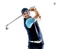 Mężczyzna golfista grać w golfa odosobnionego witki tło Zdjęcia Stock