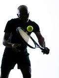 Mężczyzna gracz w tenisa backhand Obrazy Royalty Free
