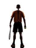 Mężczyzna gracz w tenisa sylwetka obrazy royalty free