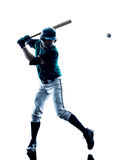 Mężczyzna gracza baseballa sylwetka odizolowywająca zdjęcie stock