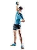 Mężczyzna handball gracz odizolowywający zdjęcie royalty free