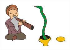 Mężczyzna hipnotyzuje węża ilustracja wektor