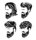Mężczyzna hirecut z broda wąsy i fryzury royalty ilustracja