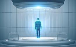 Mężczyzna hologram w futurystycznym otaczaniu obraz royalty free