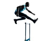 Mężczyzna hurdler biegacza sylwetka obraz stock