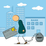 Mężczyzna iść z kredytową kartą i długiem ilustracji