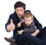 Mężczyzna i chłopiec odizolowywający na bielu zdjęcia royalty free