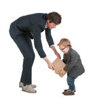 Mężczyzna i chłopiec trząść ręki odizolowywać na obraz royalty free