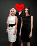 Mężczyzna i dwa kobiet miłość. Gorąca historia miłosna. Obraz Stock