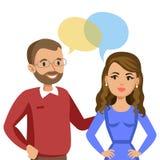 Mężczyzna i kobiet opowiadać Rozmowa para lub przyjaciele wektor royalty ilustracja