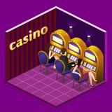 Mężczyzna i kobiet sztuki automat do gier w kasynach royalty ilustracja