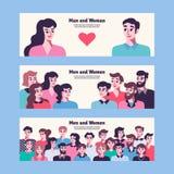 Mężczyzna i kobiet związek Przyjaciele i kochankowie ilustracja wektor