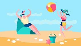 Mężczyzna i kobieta Bawić się gry w piłkę mieszkania ilustrację ilustracji