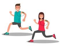 Mężczyzna i kobieta podczas gdy Jogging Zdjęcia Stock