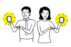 Mężczyzna i kobieta przedstawia smartphones Dwa ludzie pokazuje telefony komórkowych Styl życia sytuacja Wektor odizolowywająca k royalty ilustracja