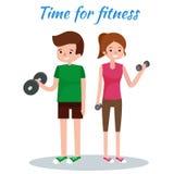 Mężczyzna i kobieta robi sprawności fizycznych ćwiczeniom Obraz Stock