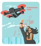 Mężczyzna i kobieta robimy selfie z trutniem również zwrócić corel ilustracji wektora ilustracji