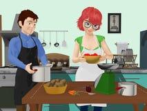 Mężczyzna i kobieta w Kuchennym narządzaniu posiłek royalty ilustracja