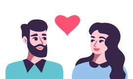 Mężczyzna i kobieta w miłości Piękni potomstwa dobierają się szczęśliwego royalty ilustracja
