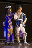 Mężczyzna i kobieta wykonujemy na scenie przy cosplay festiwalem Zdjęcie Royalty Free
