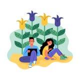 Mężczyzna i kobieta z laptopami otaczającymi kwiatami również zwrócić corel ilustracji wektora ilustracji